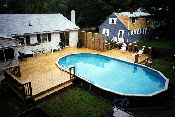Pool decks for Above ground oval pool deck plans